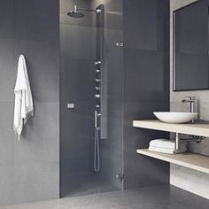 VIGO Tempo H x to W Frameless Hinged Stainless Steel Shower Door at Lowe's. Simple design lets you pulse to the beat of your own drum with the VIGO tempo adjustable Frameless clear glass shower door. Modern Shower Doors, Vigo Shower Doors, Frameless Sliding Shower Doors, Glass Shower Doors, Shower Tub, Contemporary Bathrooms, Modern Bathroom, Shower Units, Dream Bathrooms
