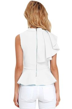 It's incredible how unforgettable you will be in the Forever More Light Blue Peplum Top! Poly-spandex, medium weight knit forms a sleeveless peplum top with ruffle. Blouse Patterns, Blouse Designs, Clubwear Tops, Mode Top, Cute Tops, Look Fashion, Diy Clothes, African Fashion, Ideias Fashion