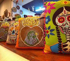 Mexican Theme Pillows Dia de Los Muertos Corazon Sagrado at Barrio Antiguo 713 880 2105 #Dayofthedead
