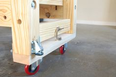 Mobile Torsion Box Workbench Making it Mobile (but Stable) - by Ron Stewart… Workbench On Wheels, Workbench Casters, Mobile Workbench, Workbench Plans, Woodworking Workbench, Garage Workbench, Learn Woodworking, Woodworking Projects, Workbench Designs