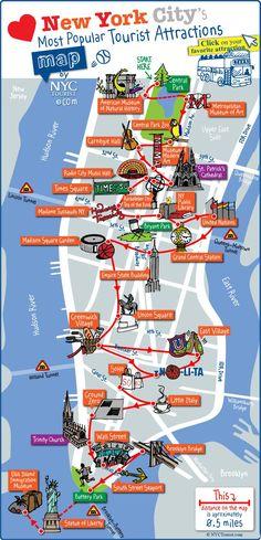 Mapa turistico de museus, pontos turísticos, lugares turísticos, monumentos e atrações de Nova York