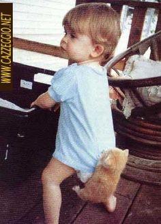 Cute kid 'n kitten