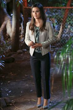 Season 2, Episode 20 Dr. Zoe Hart (Rachel Bilson) wears a Helmut Lang blouse ($315 at ssense.com) and jacket, pleated trousers by Vince. ($210 at vince.com), Pour la Victoire gray suede pumps, and a Vanessa Mooney necklace (similar styles available at vanessamooney.com).