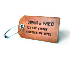custom leather luggage tag, owen and fred