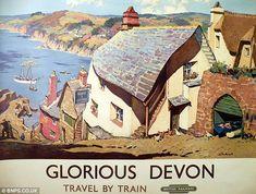 Vintage Glorious Devon British Railways Travel Poster Re-Print Retro Poster, Poster Ads, Advertising Poster, Poster Prints, Tourism Poster, Posters Uk, Train Posters, Railway Posters, Music Posters