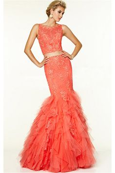 Chic Long Tulle Mermaid Sleeveless Backless Prom Dresses