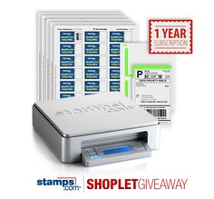Shoplet.com has a second giveaway this week. Here's how to win a package from Stamps.com, which includes a 1 year subscription to Stamps.com: Follow Shoplet on Pinterest, repin this post, go to the Shoplet Blog before 4/11/13 and tell us whate you will ship using your subscription. #giveaways