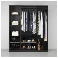 PAX Armoire-penderie - brun noir - IKEA but in a different color Pax Corner Wardrobe, Walk In Wardrobe, Wardrobe Design, Black Wardrobe, Ikea Closet, Closet Bedroom, Closet Storage, Bedroom Storage, Bedroom Organization