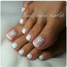 Maybe pink. Or pink French nails. Then just one embellished toe.