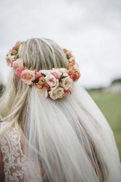 Floral crown Romantic Ranch Bridal Portraits