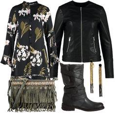 Abito a manica lunga a fantasia floreale sui toni del verde salvia abbinato a boot neri e giacca di simil pelle. Particolare la borsa a spalla con frange e gli orecchini pendenti in metallo bi-color.