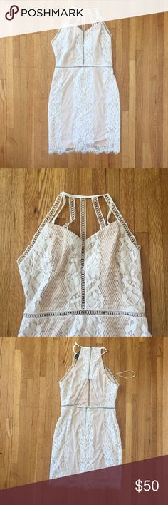 White lace ivory cut out dress Sabo showpo Xenia New w tags! Size medium. True to size. NOT FROM LF, it is a boutique brand! LF Dresses Mini