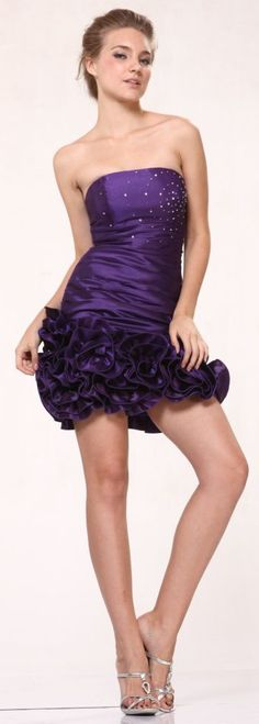 Taffeta Purple Cocktail Dress Ruched Rose Hem Short Strapless Prom Dress $69.99