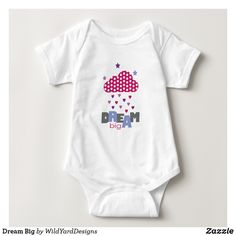 Dream Big Quote With Cloud Hearts And Stars Baby All In One Bodysuit
