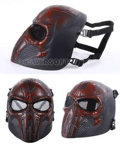 Punisher Cool Airsoft Mask(Red)