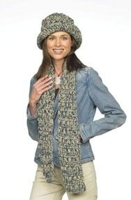 Follow this free crochet pattern to create a hat and scarf set using Red Heart Super Saver worsted weight yarn.