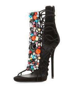 Giuseppe Zanotti Jeweled Suede T-Strap Sandal Bootie 30d8cd88095