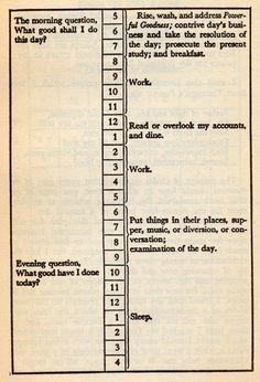 A balanced life: Benjamin Franklin's daily schedule...
