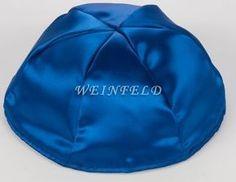 L Navy Blue High quality blue satin kippah