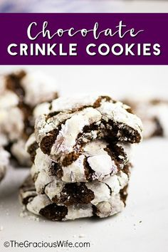 Chewy fudgy Chocolate Crinkle Cookies are pretty and easy to make. They're rich and decadent and are perfect for Christmas baking and cookie exchanges! German Chocolate Cake Cookies, Chocolate Crinkle Cookies, Chocolate Crinkles, Chocolate Desserts, Cookie Recipes, Dessert Recipes, Bar Recipes, Family Recipes, Delicious Recipes