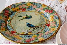 old, unique dishes - Love the birds and roses