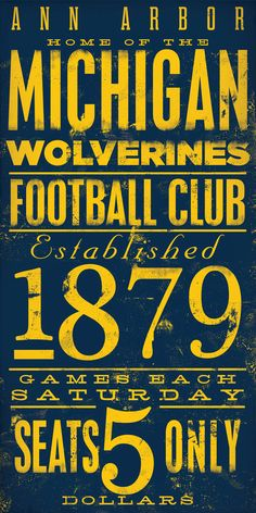Michigan Woverines football typography graphic art by geministudio, $260.00