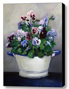 Pansies Painting Floral Canvas Print by EnzieShahmiriDesigns, $270.00