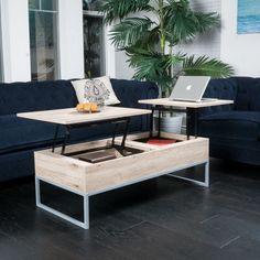 Mid-Century Design Sandy Brown Wood Double Lift Top Storage Coffee Table #GreatDealFurniture #MidCentury