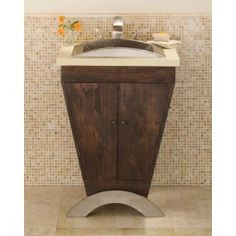 Yanama Vanity In Brushed Nickel - Handcrafted entirely of solid, Forest Stewardship Council certified cherry, Yanama is a handsome blend of sustainable wood and hammered copper. Coordinates beautifully with our Marble, Basalt, or Sedona copper vanity tops.