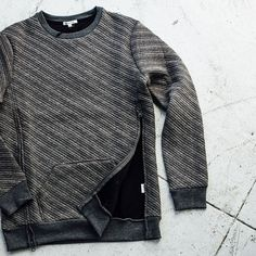#ReasonClothing Ridge Crewneck with side zip detail. Available online and in stores now.  by reasonclothing #SoleInsider