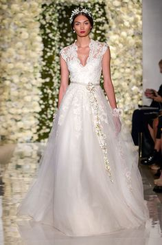 Beautiful lace A-line wedding dress by Reem Acra, Fall 2015