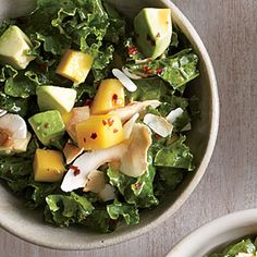 Kale Salad with Mango and Coconut Recipe | MyRecipes.com Mobile  Good!   Refreshing- one person didn't like the kick of the red pepper flakes- but I loved it!