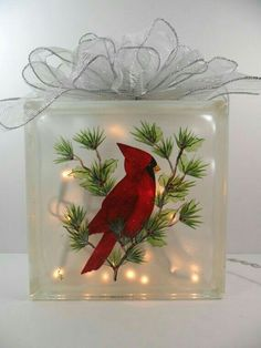 Painting Glass Blocks Holidays Ideas For 2019 Painted Glass Blocks, Decorative Glass Blocks, Lighted Glass Blocks, Hand Painted, Painted Vases, Christmas Glass Blocks, Noel Christmas, Christmas Ornaments, Christmas Signs