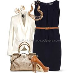 Navy Belted Dress