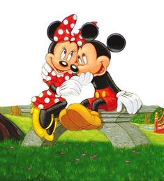 Mickey Mouse And Minnie Mouse in love Mickey And Minnie Love, Mickey Mouse And Friends, Mickey Minnie Mouse, Mickey Mouse Sketch, Mickey Mouse Images, Mouse Pictures, Disney Pictures, Cute Disney, Baby Disney