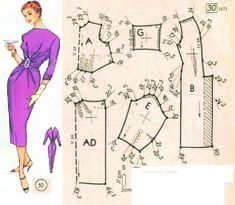 New Dress Pattern Free Sewing Fashion Templates 57 Ideas Vintage Dress Patterns, Barbie Patterns, Doll Clothes Patterns, Sewing Clothes, Clothing Patterns, Vogue Dress Patterns, New Dress Pattern, Patron Vintage, Modelista