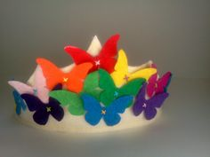 Felt Crown Butterfly Rainbow Spring Queen Princess Birthday. $26.00, via Etsy.