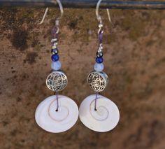 Silver earrings. Seashell earrings. Summer earrings. Beach earrings.Gemstone earrings. by Votsaloartstudio on Etsy