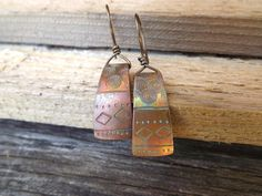 Hand stamped artisan copper earrings free shipping by Amayeli, $18.00