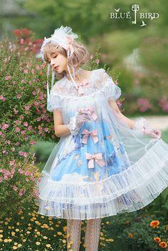R-series -Blue Bird- Vintage Classic Lolita OP Dress Quirky Fashion, Lolita Fashion, Cute Dresses, Cute Outfits, Flower Girl Dresses, Manga Japan, Funny Bird, Japanese Street Fashion, Character Outfits