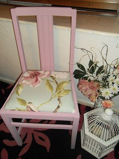 Beautiful Pink Shabby Chic Chair in Annie Sloan Henrietta with Flower Seat Cover