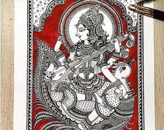 Items similar to Hindu Goddess Saraswathi Home Decor Art Print on Etsy Kalamkari Painting, Madhubani Painting, Saraswati Painting, Mandala Art, Mandala Design, Watercolor Mandala, Indian Folk Art, Indian Artist, Lotus Art