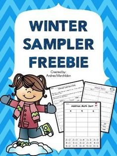 This Winter Sampler Freebie is great for morning work, independent work time, or for homework. Great practice for first grade. First Grade Freebies, Teacher Freebies, First Grade Activities, Classroom Freebies, 1st Grade Math, Math Literacy, Teaching Math, Teaching Ideas, Number Grid