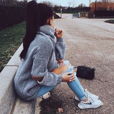 grey turtleneck + ripped jeans