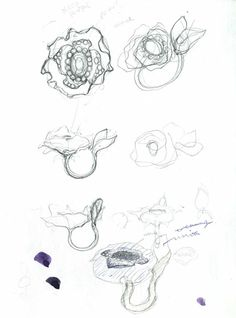 Jewellery Sketchbook - jewelry design drawings; flower ring sketches; the creative design process //  Stephanie J Kim