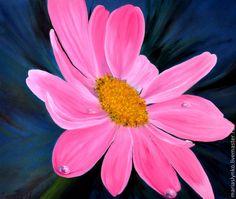 Картина маслом. Космея. - розовый,темно-зеленый,картина цветок,космея
