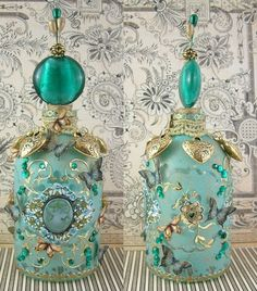 """Altered Bottles Using Gilders Paste and A Masking Technique - To see more of my art, download free images, and learn new techniques (like how to alter this bottle) checkout my Blog """"Artfully Musing"""" at http://artfullymusing.blogspot.com"""