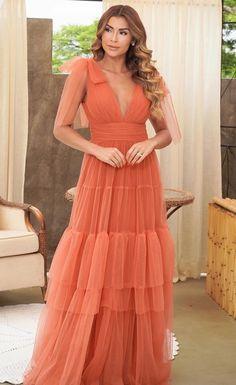 Vestido longo terracota: 20 modelos para madrinhas de casamento!   Madrinhas de Casamento