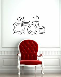 Housewares Wall Vinyl Decal Music Musical Instrument Drum Home Art Decor Kids Nursery Removable Stylish Sticker Mural Unique Design for Any Room Perfectly fit for any clean, smooth and flat surface.. It is made of high-quality vinyl material. Please choose 1 color you want from our color chart or this decal will be shipped in BLACK color.. The decal size is 22''x35'' or 56x90 cm. The decal is full... #Home_Improvement