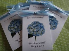 Blue Hydrangea Design Personalized Favors with Wildflowers Seeds inside Perfect for Bridal Shower or Wedding Birthday Rehearsal Dinner